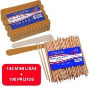 144 Mini Lixas De Unha + 100 Palitos Laranjeira Manicure