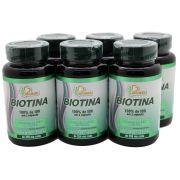 6x Biotina 60 Capsulas Vitamina H Vitamina B7 Crescimento Firmeza
