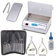 Estufa Esterilizadora para Manicure Pedicure + Bandeja + Alicates + Ferramentas + Amolecedor