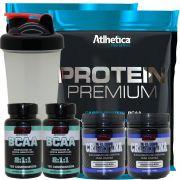 Kit 2x Whey Protein Premium + 2 Bcaa + 2 Creatina + Copo