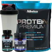 Kit 2x Whey Protein Premium + Bcaa + Creatina + Copo