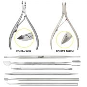 Kit Podologia Manicure Pedicure 6 Instrumentos Inox Autoclave + Alicates