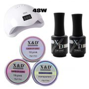 Kit Unha Gel Acrigel Led UV Sun 5 48W Top Coat Primer 575XD