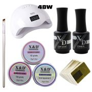 Kit Unha Gel Acrigel Led UV Sun 5 48W Top Coat Primer 579XD