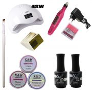 Kit Unha Gel Acrigel Led UV Sun 5 48W Top Coat Primer 593XDR