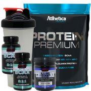 Kit Whey Protein Premium + 2 Bcaa 120 B6 + Creatina + Copo