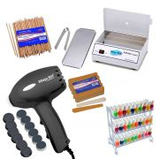 Pedicuro Pro Lixa Eletrica + Estufa Esterelizadora c/ bandeja + display + 144 Lixas + 100 Palitos