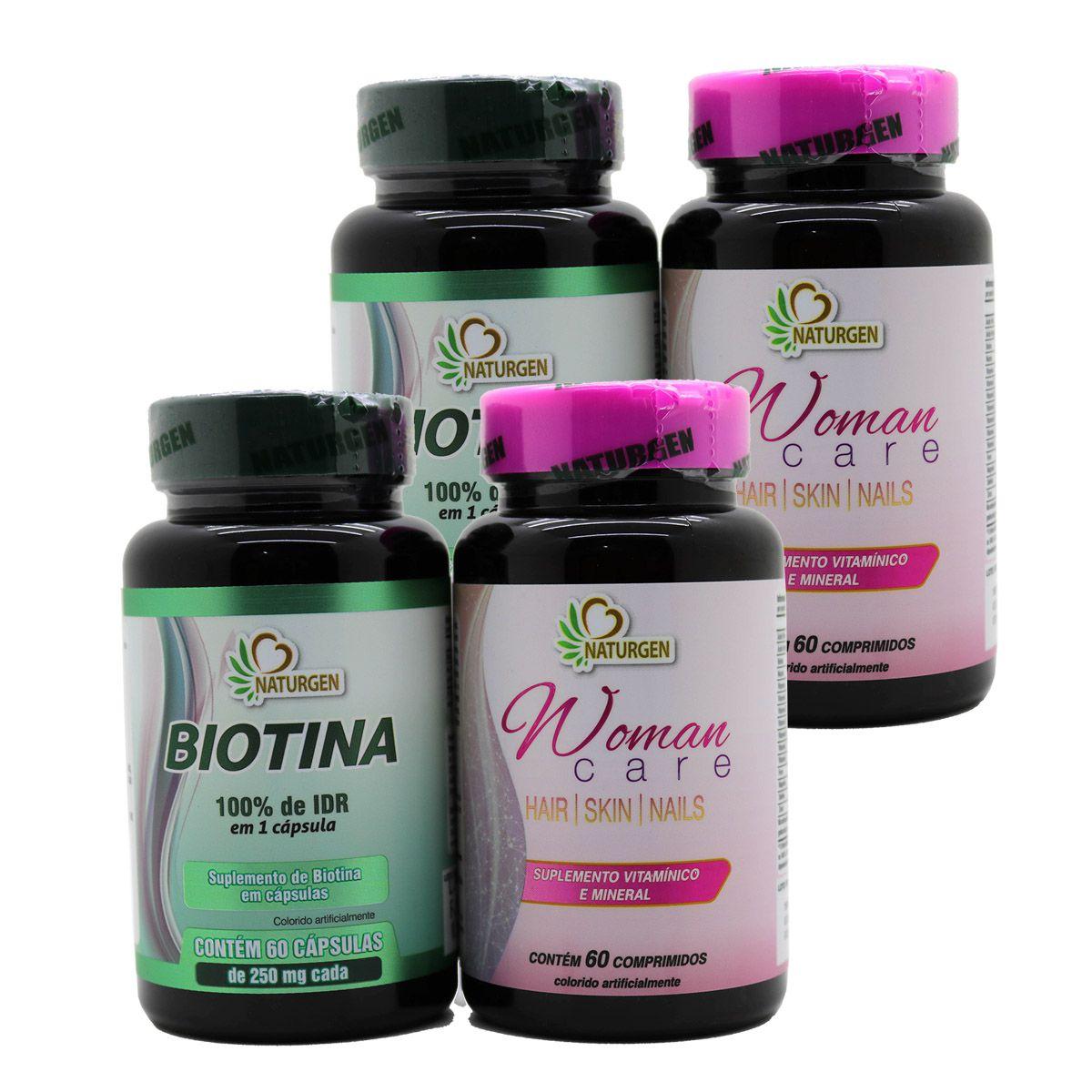 2 Biotina + 2 Hair Skin Nails Crescimento Firmeza Queda