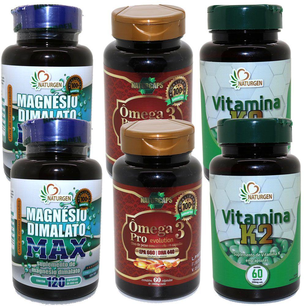 2 Magnesio Dimalato 800mg + 2 K2 Mk7 + 2 Omega Concentrado