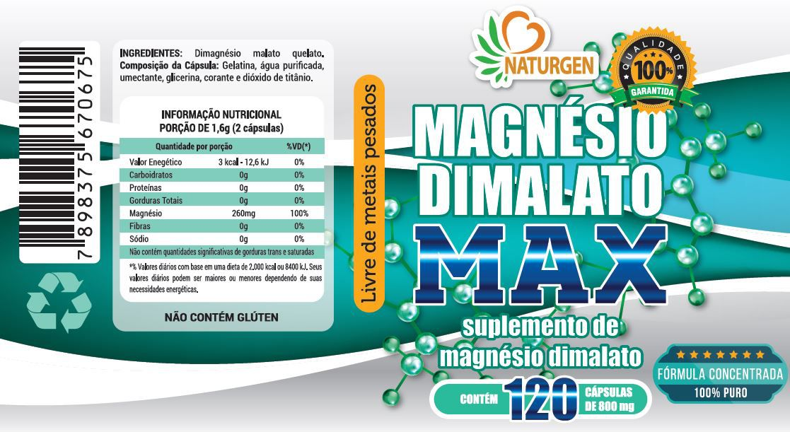 3 MAGNESIO DIMALATO 800MG 120 CAPS - Hair Skin Nails