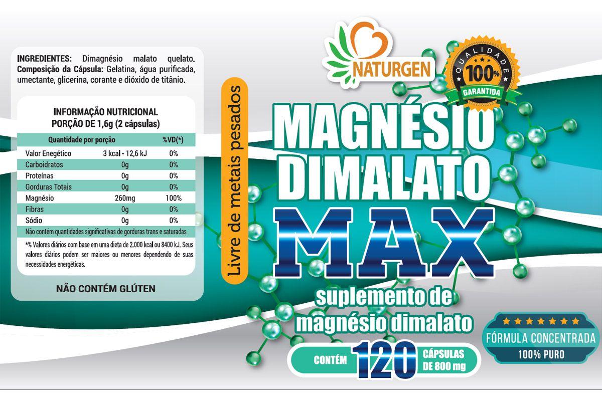 3 MAGNESIO DIMALATO 800MG 120 CAPS - PURO- ULTRA CONCENTRADO