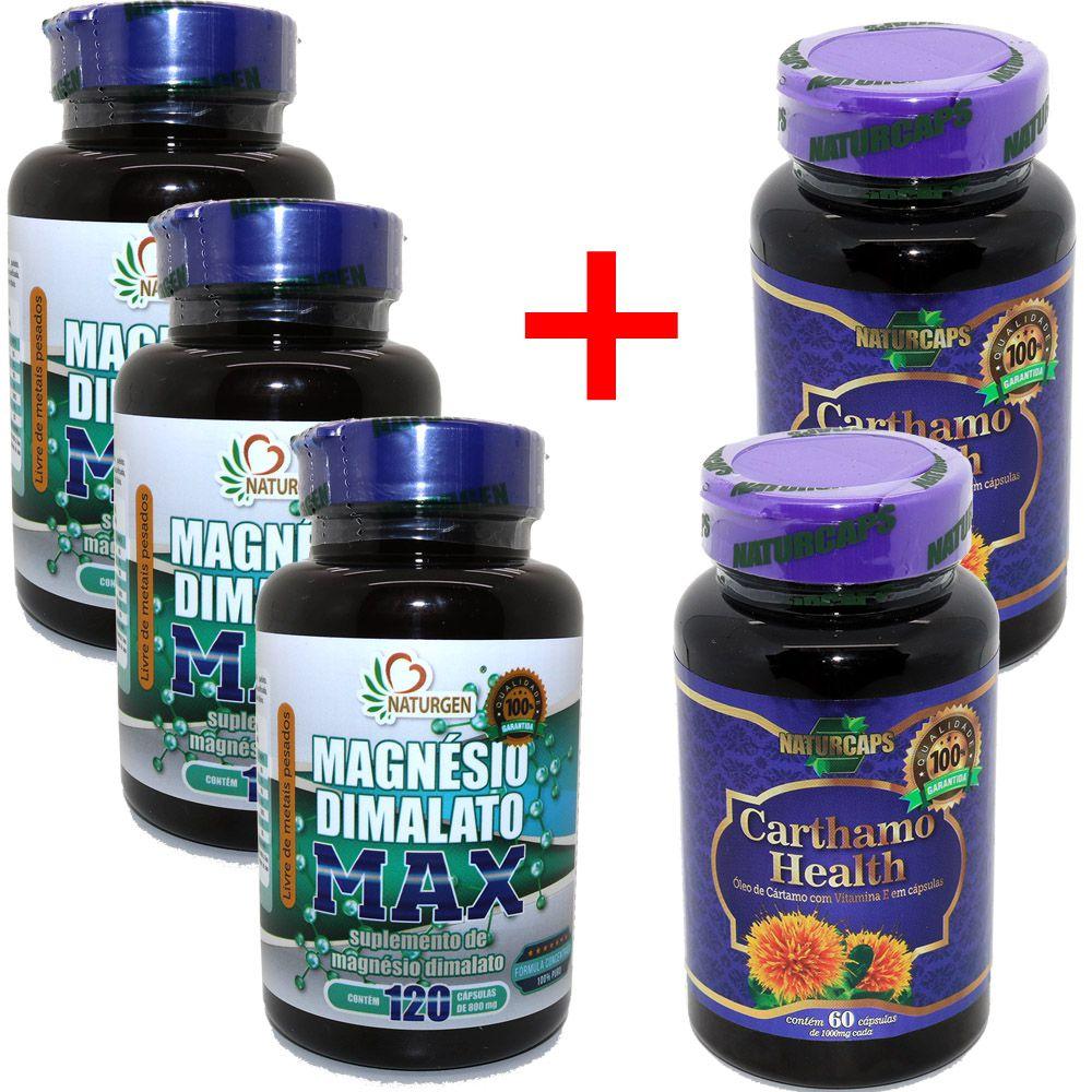 3 Magnesio Dimalato Puro 800mg (120 Caps) + 2 Oleo De Cartamo