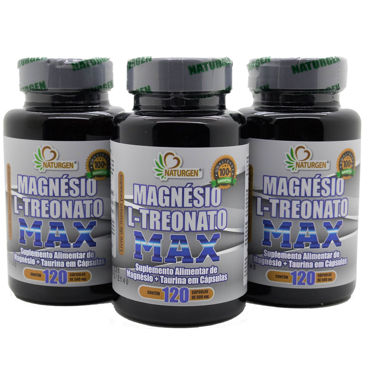 3 Magnesio L Treonato com taurina 500mg 120 capsulas