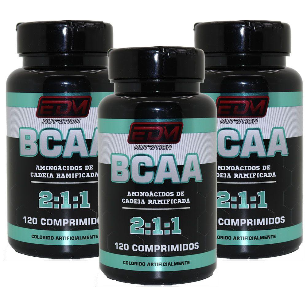 3x BCAA 2:1:1 com B6 120 comprimidos EDM Nutrition