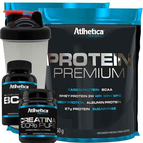 Kit 2x Whey Protein Premium Bcaa Creatina + Copo