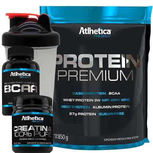 Kit Whey Protein Premium + Bcaa + Creatina + Coqueteleira
