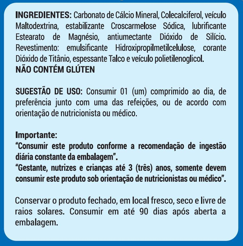 4 CALCIO 600 + D3 - 60 COMPRIMIDOS - 8 MESES