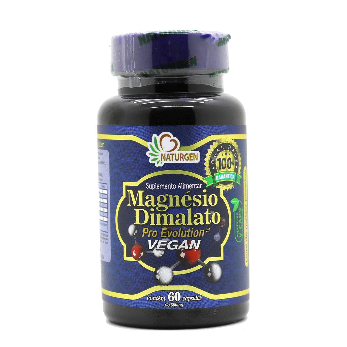 6 Magnesio Dimalato Pro 60 Capsulas - Vegano Puro 800mg