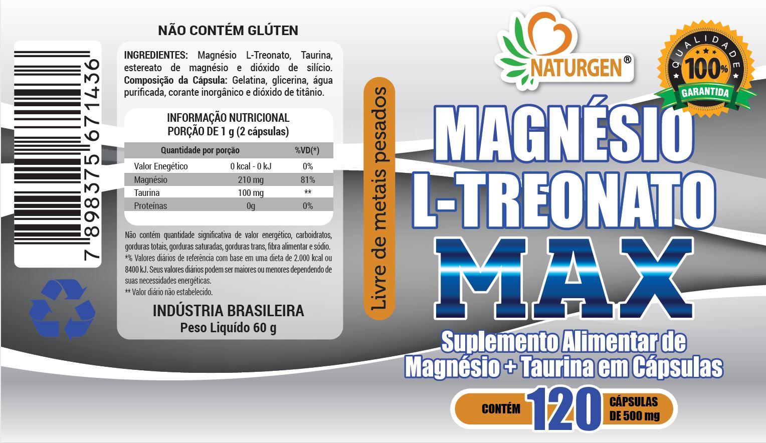 6 Magnesio L Treonato com taurina 500mg 120 capsulas