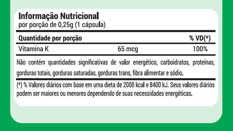 6x Vitamina K2 Menaquinona 250 MG 60 caps 12 meses