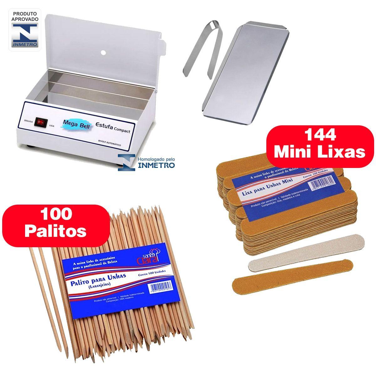 Estufa Manicure + acessorios + 144 mini Lixas + 100 palito