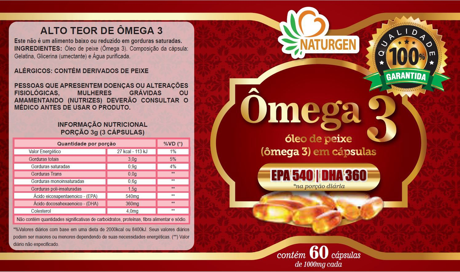 Kit 10x Omega 3 1000mg Nutraceuticos Naturcaps