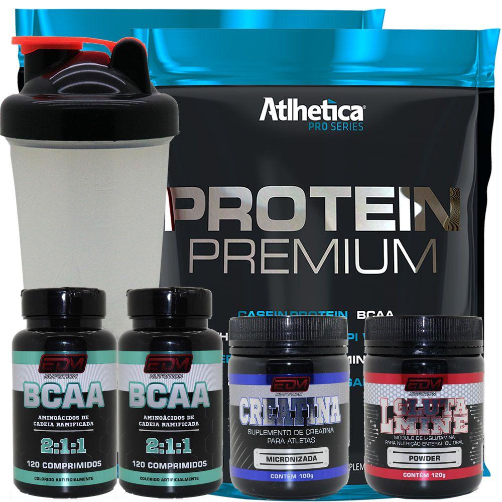 Kit 2x Whey Protein Premium + 2 Bcaa + 1 Creatina + 1 Glutamina + Copo