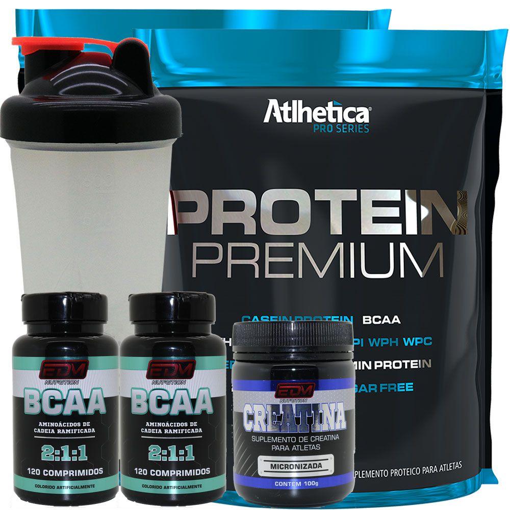 Kit 2x Whey Protein Premium + 2 Bcaa + 1 Creatina + Copo
