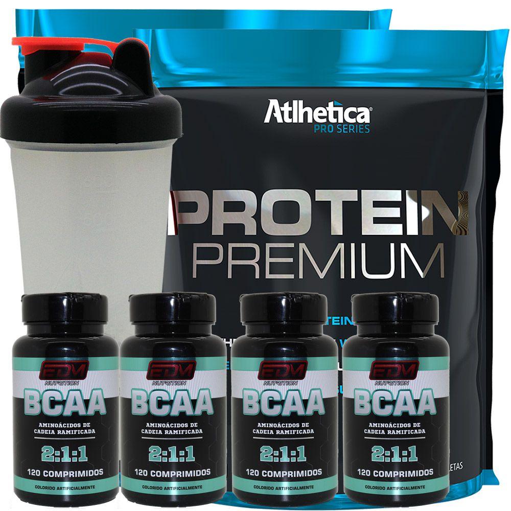 Kit 2x Whey Protein Premium + 4 Bcaa 120 B6 + Coqueteleira