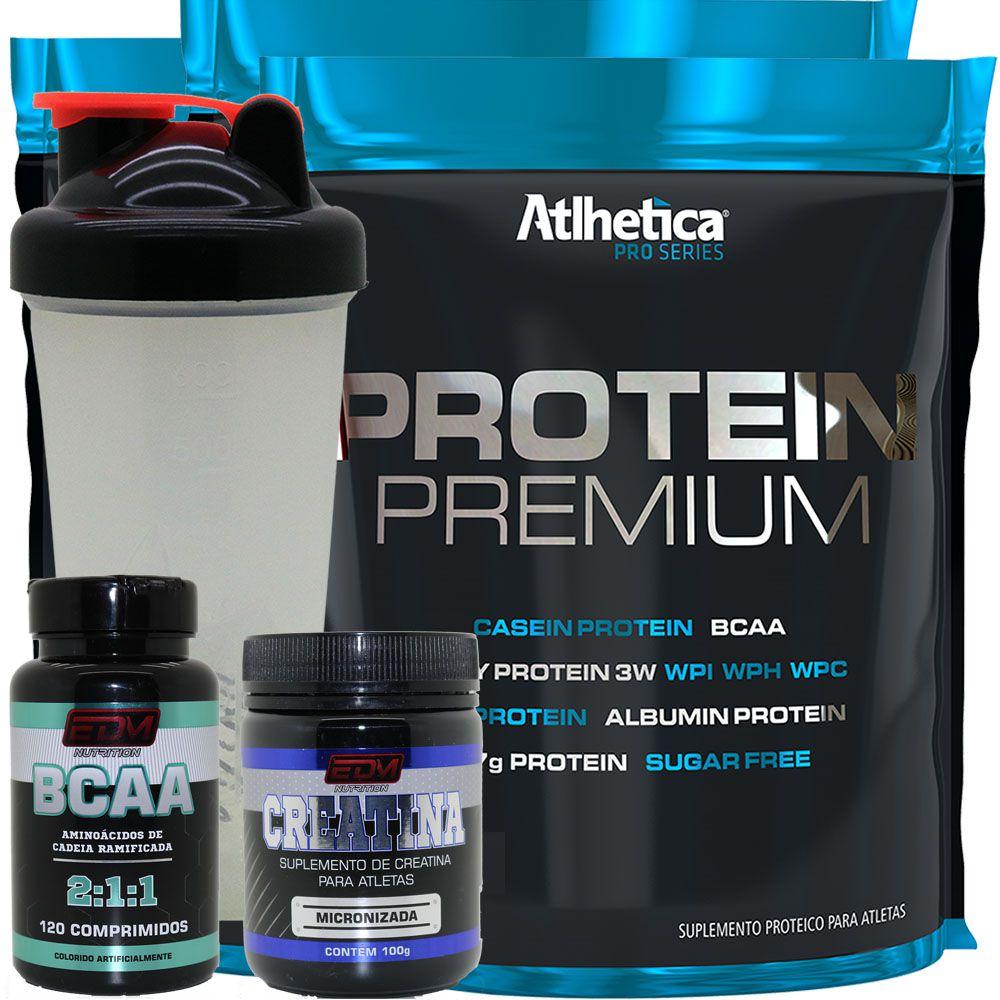 Kit 3x Whey Protein Premium + Bcaa + Creatina + Copo