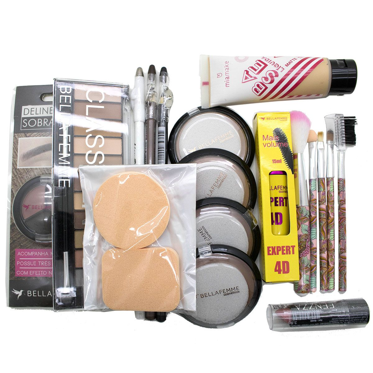 Combo De Maquiagem Kit E1 Completo Pinceis Base Batom
