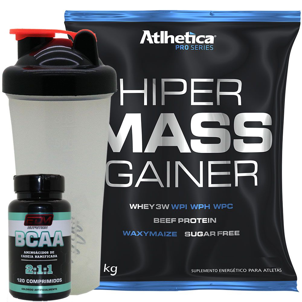 Kit Massa Hipercalorico 1kg + BCAA com B6