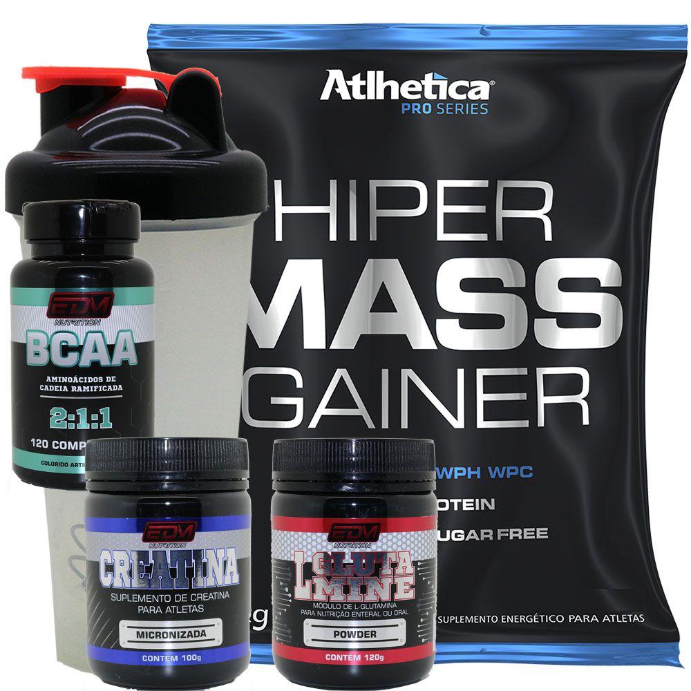 Kit Massa 1kg + BCAA com B6 + Creatina 100g + Glutamina 120g