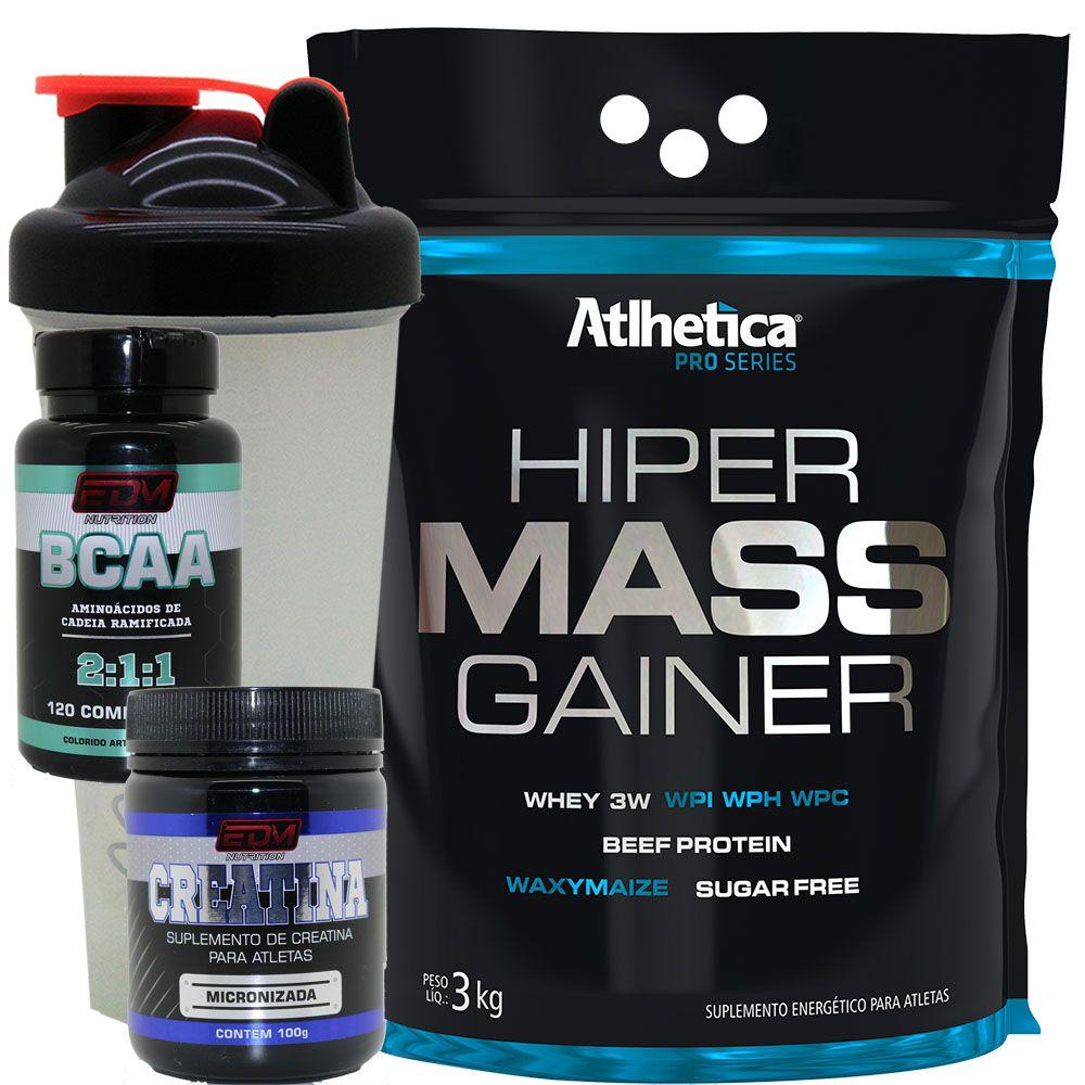 Kit Massa Hiper Mass Gainer 3kg + Bcaa + Creatina + Brinde