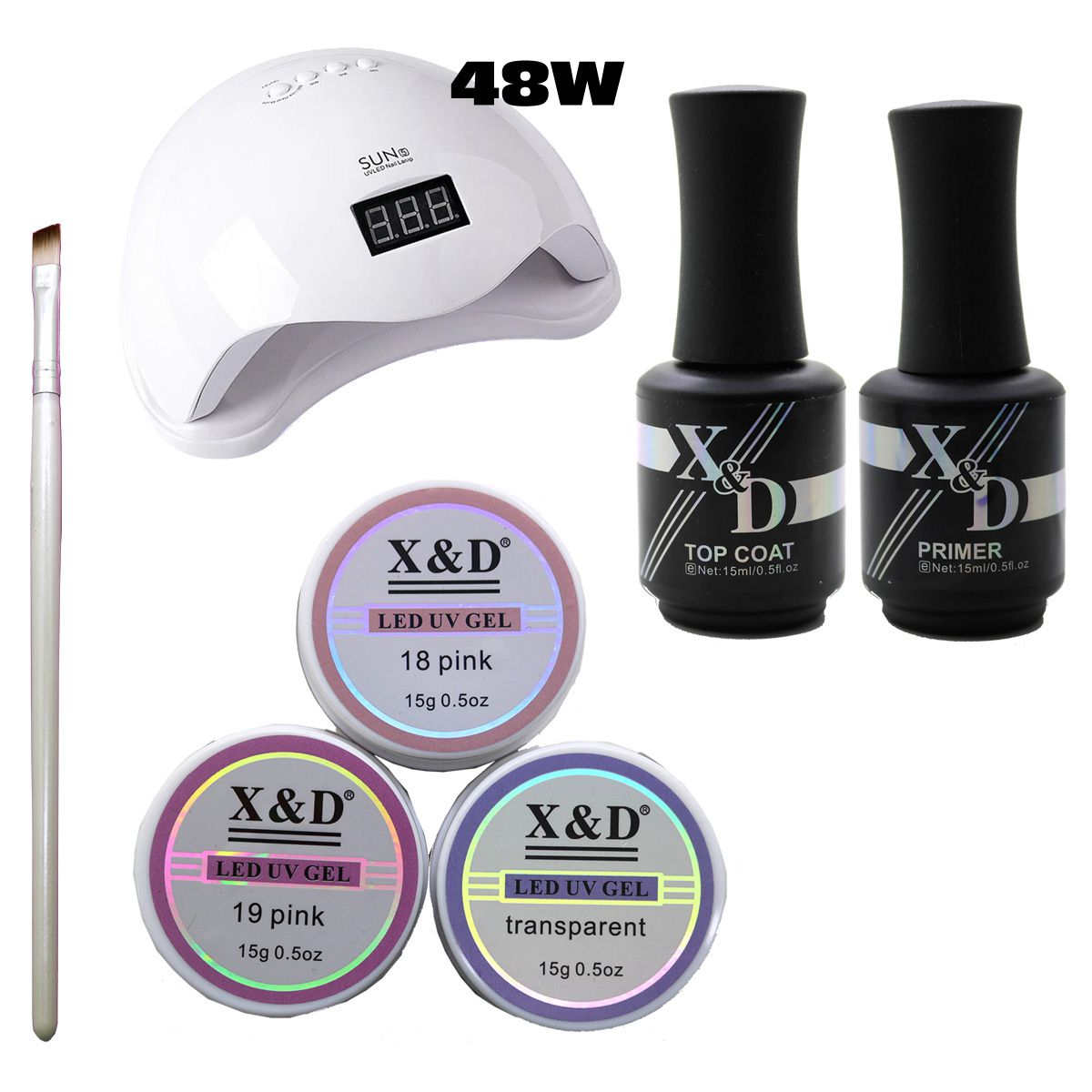 Kit Unha Gel Acrigel Led UV Sun 5 48W Top Coat Primer 577XD