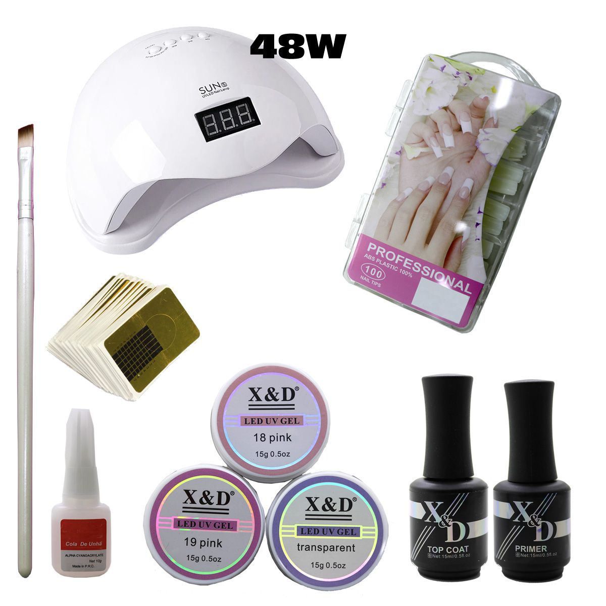 Kit Unha Gel Acrigel Led UV Sun 5 48W Top Coat Primer 581XD