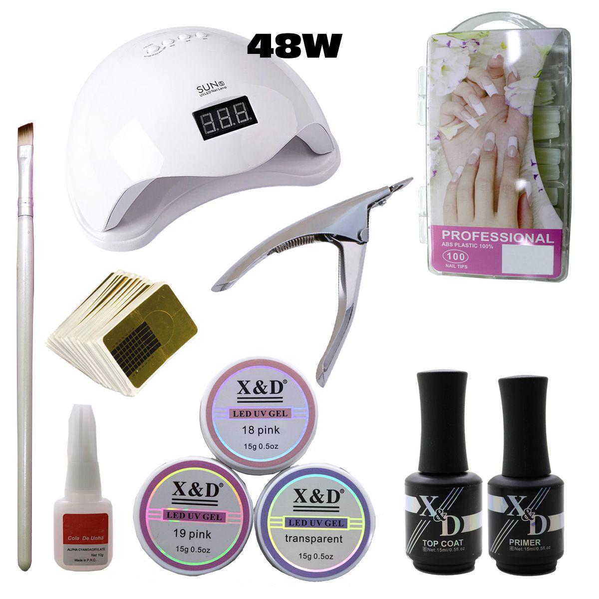 Kit Unha Gel Acrigel Led UV Sun 5 48W Top Coat Primer 583XD