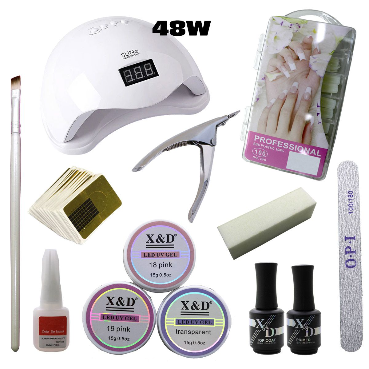 Kit Unha Gel Acrigel Led UV Sun 5 48W Top Coat Primer 587XD