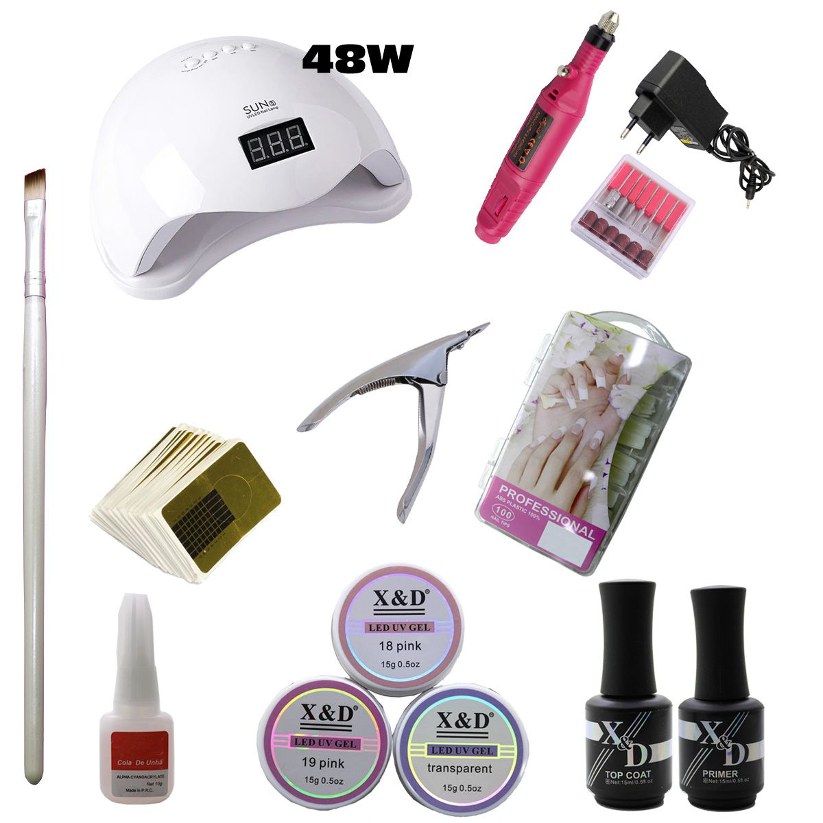 Kit Unha Gel Acrigel Led UV Sun 5 48W Top Coat Primer 597XDR