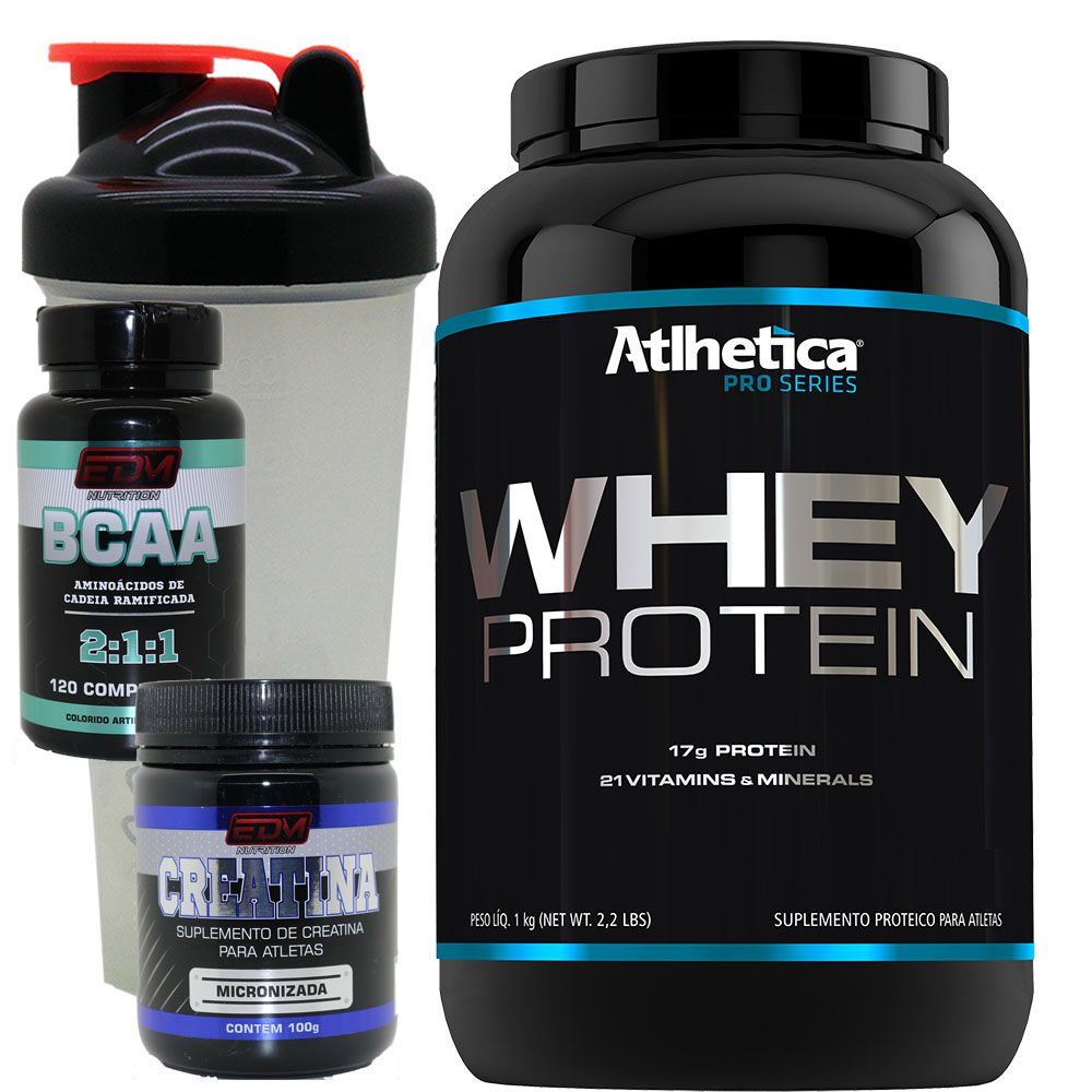 Kit Whey Protein Concentrado + Bcaa 120 B6 + Creatina + Copo