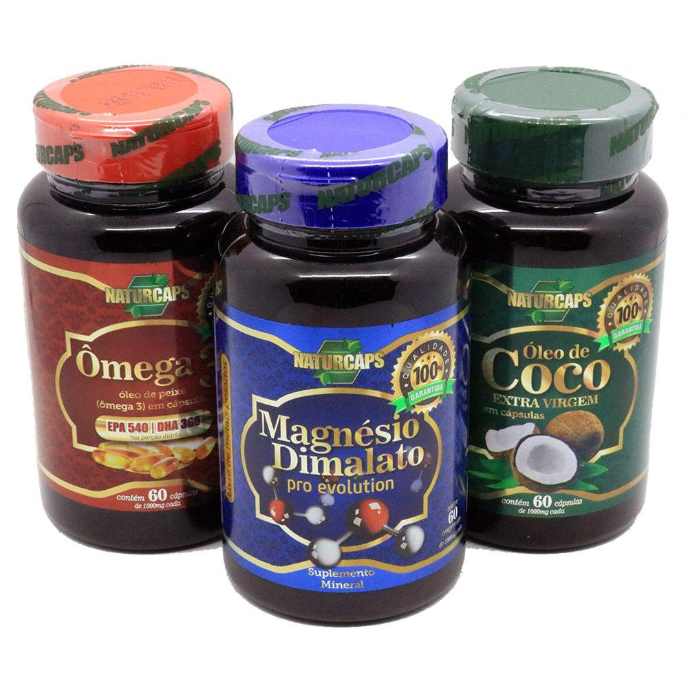 Magnesio Dimalato 1000mg + Omega 3 + Oleo De Coco Naturcaps Naturgen