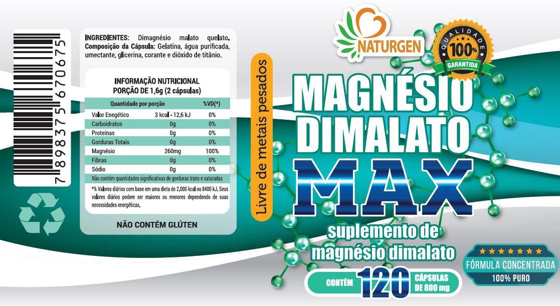 MAGNESIO DIMALATO 800MG 120 CAPS - PURO - ULTRA CONCENTRADO
