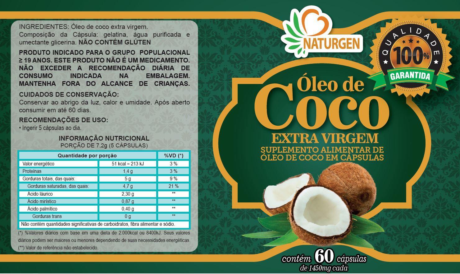 Oleo De Coco 60 Capsulas Naturcaps - 3 Potes