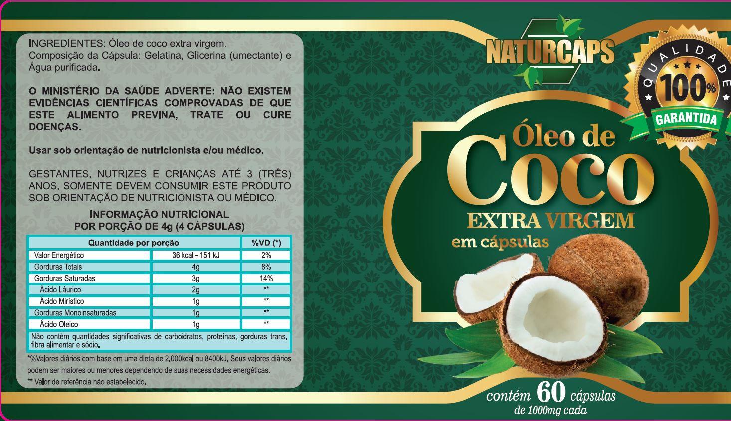 Oleo De Coco 60 Capsulas Naturcaps - 4 Potes