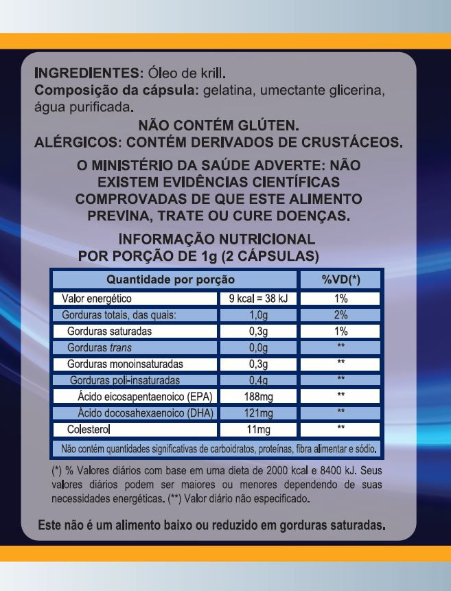 Oleo De Krill 500mg Omega 3 60 Caps EPA 188 - DHA 121