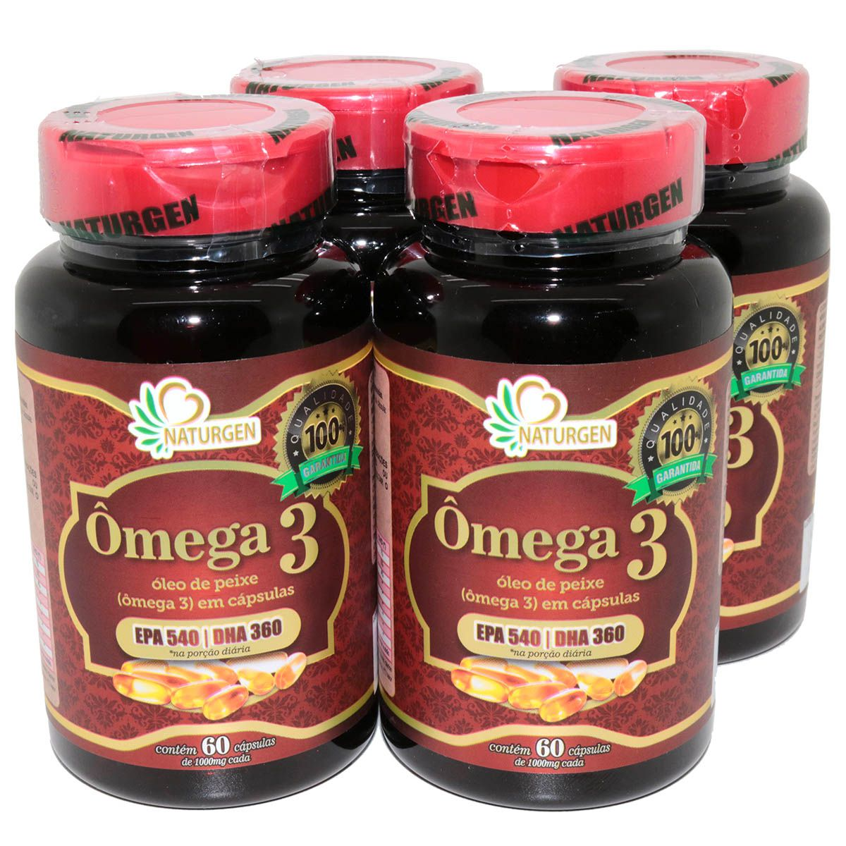 Omega 3 1000mg 60 Capsulas Naturcaps 4 Potes