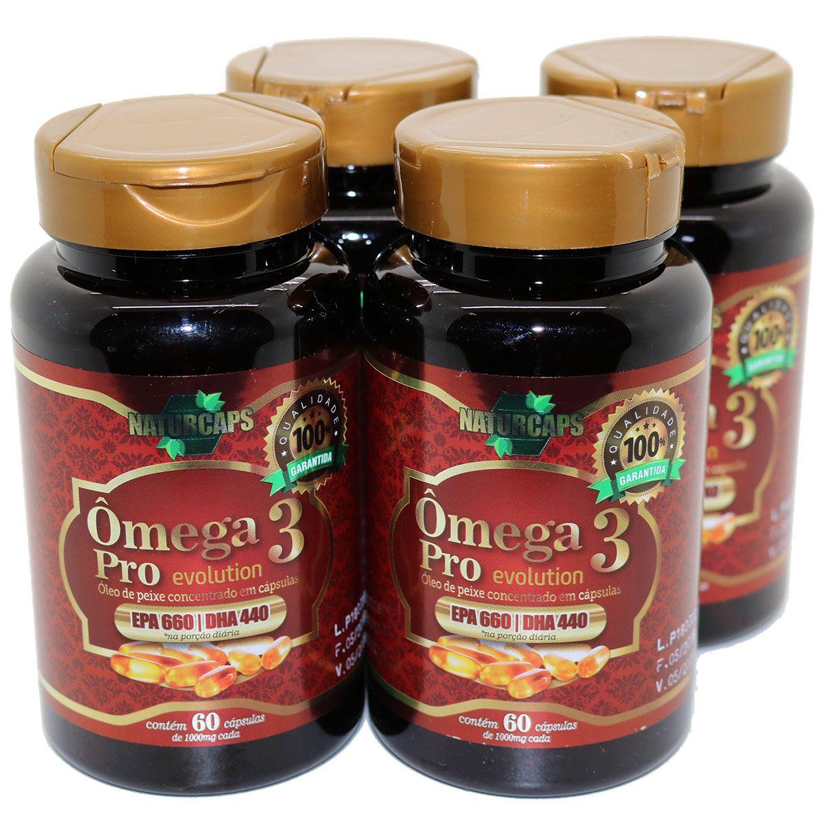 Omega 3 Concentrado 33/22 Antioxidante - Naturcaps - 4 Potes