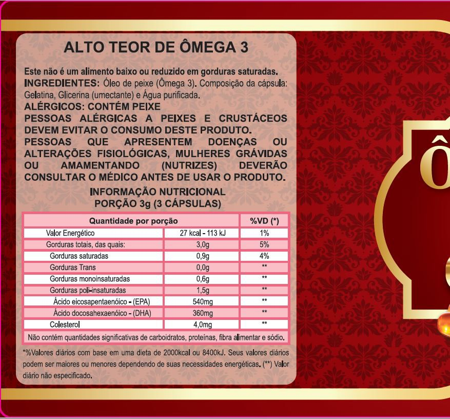 Omega 3 Oleo De Peixe 1000mg - Naturcaps - 10 Potes 120 Caps