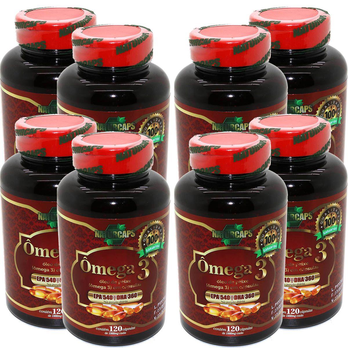 Omega 3 Oleo De Peixe 1000mg - Naturcaps - 8 Potes 120 Caps