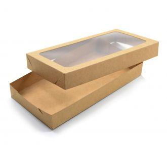 Ref 086 Kraft - Caixa c/ tampa transparente - 23x12x3 cm - c/ 10 unidades